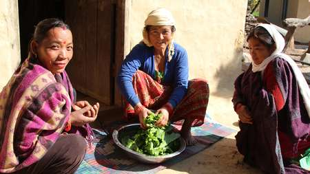 Women in a village in the Salyan district, Nepal