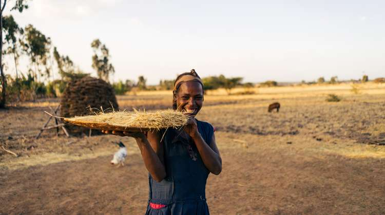 A woman working on a field in Sodo, Ethiopia