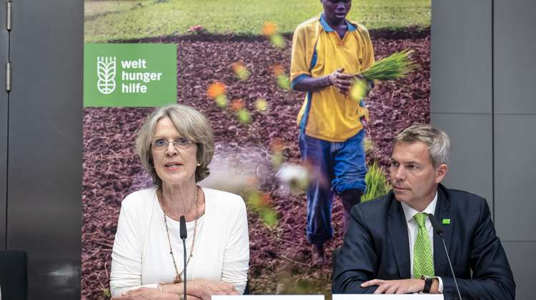 Bärbel Dieckmann, President of Welthungerhilfe, and CEO Dr. Till Wahnbaeck at the press confernce for the publication of the Annual Report 2017 in Berlin.