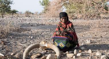 Zahara Ali Mohammed has lost most of her entire livestock because of the drought – only 10 goats are left.