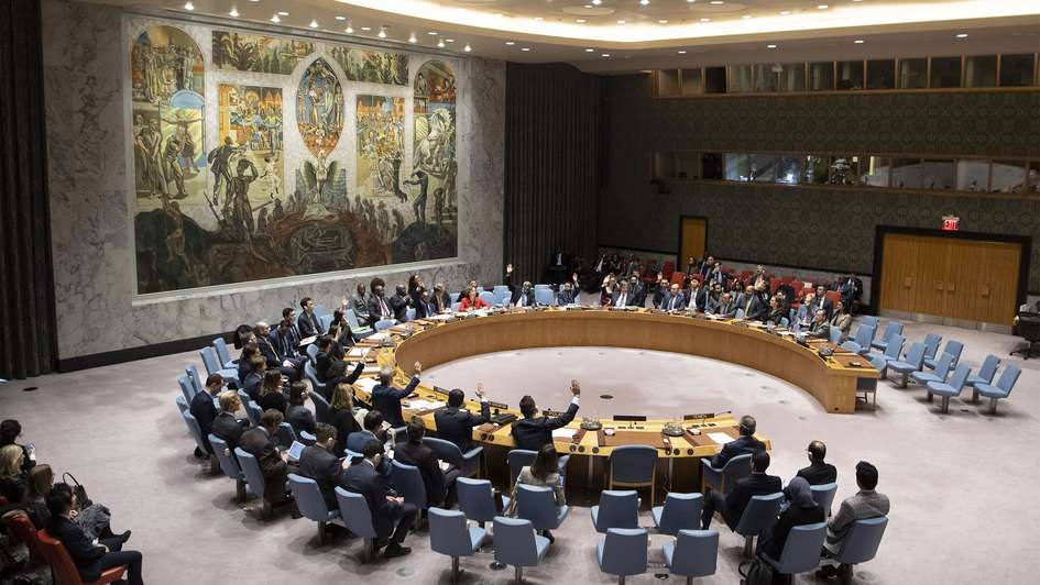 Members of the Security Council voting by show of hands