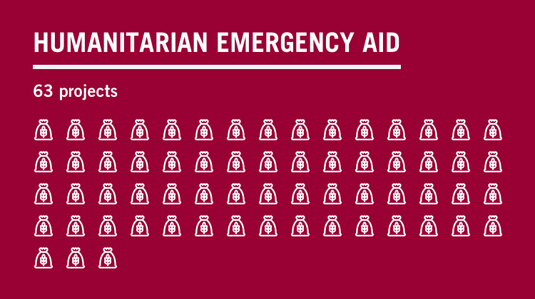 Text graphic: humanitarian emergency aid, 63 projects
