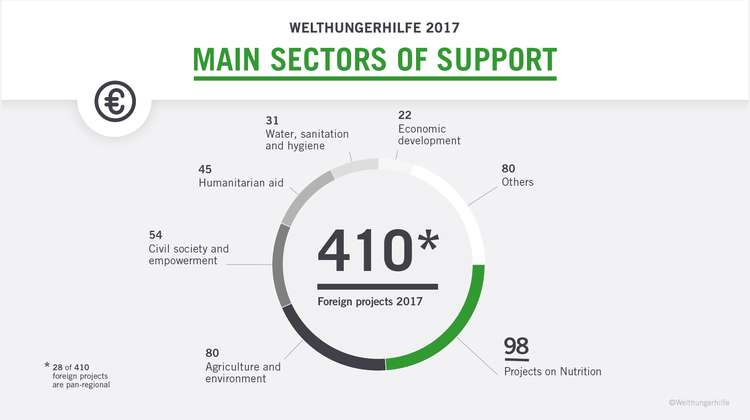 This diagram shows the sectors of support of Welthungerhilfe in 2017: There were 410 foreign projects - 98 projects on nutrition, 80 projects on agriculture and environment and 80 more in the sector 'Other', 54 projects on civil society and empowerment, 45 projects on humanitarian aid, 31 projects on water, sanitation and hygiene and 22 on economic development.