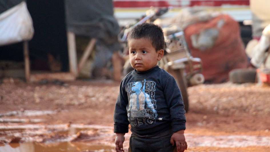 A child in a refugee camp in the Syrian province of Idlib.
