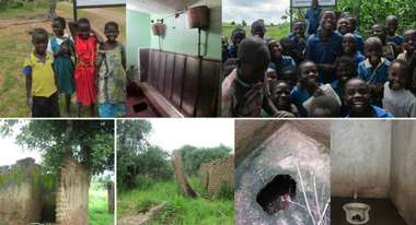 Multiple pictures of children in Malawi as well as toilets
