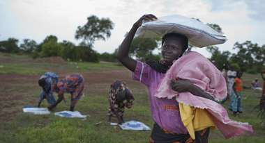 Distribution of aid supplies in South Sudan.