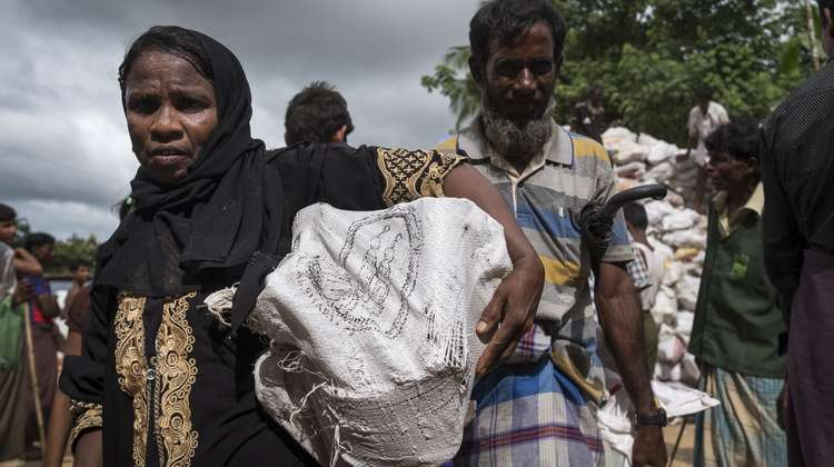 A woman in Hakimpara refugee camp in Bangladesh with a sack full of fuel.