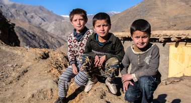 Children in the mountains of Afghanistan's Parwan province