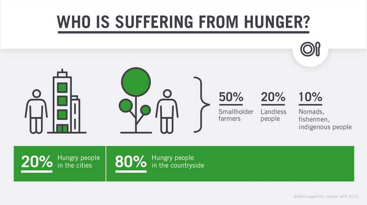 Who is suffering from hunger? This diagram displays that only 20% of hungry people worldwide are living in cities, while 80% are living in the countryside. 50% of hungry people in the countryside are smallholder farmers, 20% are landless peoples and 10% are nomads, fishermen and indigenous people.