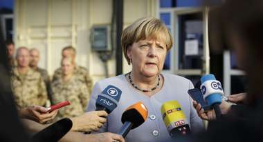 German Chancellor Merkel is holding an interview.