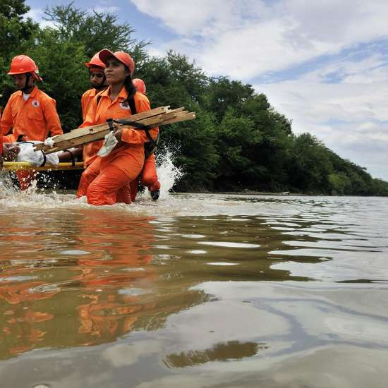 Disaster Rescue Training in 2008 in Somotillo, Nicaragua, a region that is regularly hit by hurricanes.