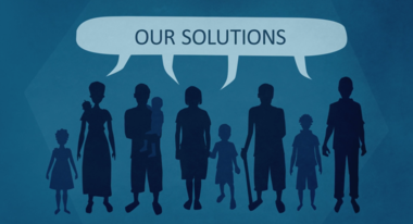 "Illustration of adults and children with a speech bubble ""Our Solutions"""